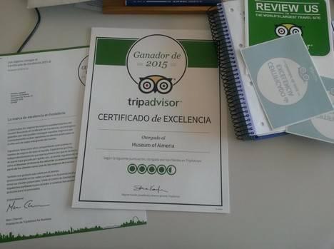 El Museo Arqueológico de Almería y el Conjunto Monumental de La Alcazaba reciben el Certificado de Excelencia 2015 del portal de viajeros TripAdvisor