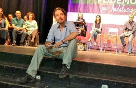 Iglesias logra que la dirección de IU de Almería acuda por vez primera a un mitin de Unidos Podemos en el que no tuvieron voz