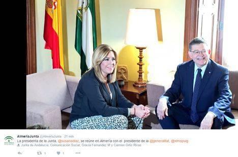 Susana Díaz se reúne en Almería con el presidente de la Generalitat Valencia pero sigue sin hacerlo con el alcalde de la ciudad