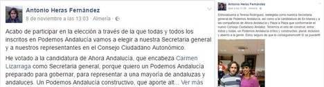 El secretario general de Podemos en Almería apostó por las dos perdedoras y ahora tira de foto con la ganadora