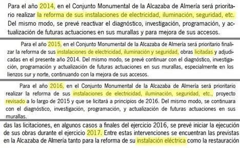 El Gobierno andaluz promete por cuarto año reformar la instalación eléctrica de la Alcazaba aunque no lo hará la Junta