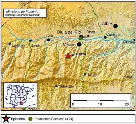 Registrado un terremoto de magnitud 3,2 en Laroya