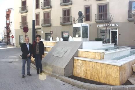 Busto del Padre Vera preside la nueva fuente de la Plaza Virgen de las Angustias