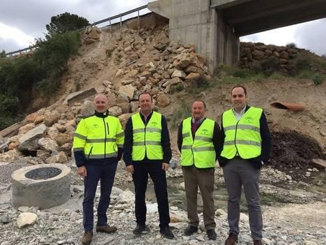 Comienzan las obras de emergencia para reparar el puente de la A-1100, en Albanchez
