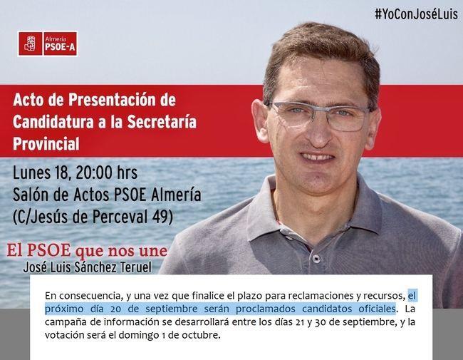 El secretario general del PSOE de Almería hace su primer acto de campaña de Primarias antes de ser proclamado candidato