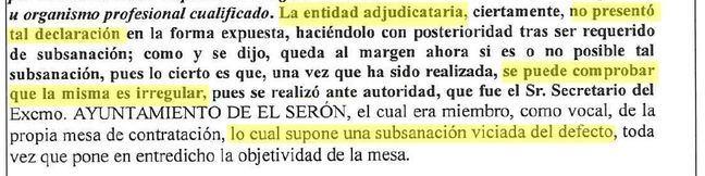 Anulada por irregularidades una adjudicación del Ayuntamiento de Serón