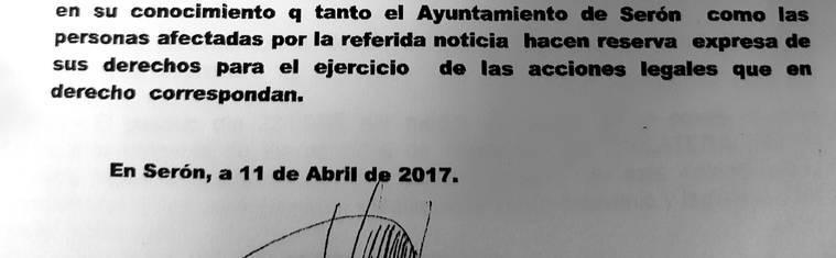 El alcalde de Serón califica de 'falsa' la amenaza contra este medio por publicar información sobre la adjudicación anulada