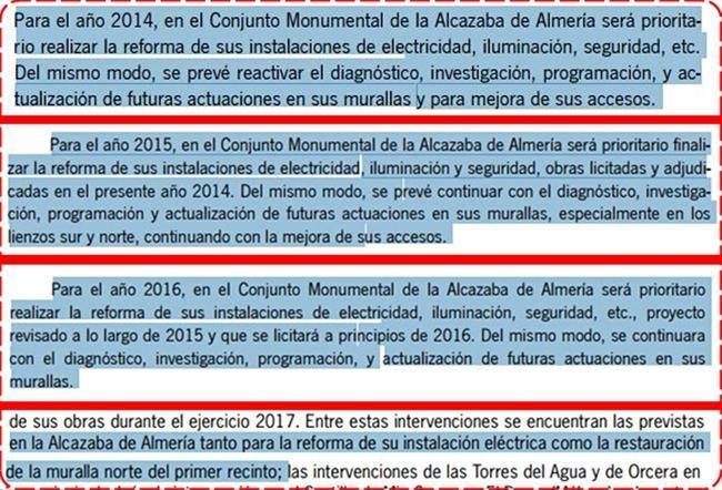 La Junta promete por quinto año consecutivo en sus Presupuestos la misma inversión en la Alcazaba