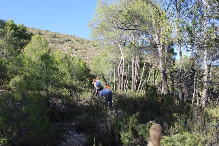 Jornada de voluntariado ambiental para acondicionar un sendero del monte 'El Gabar' en Sierra María