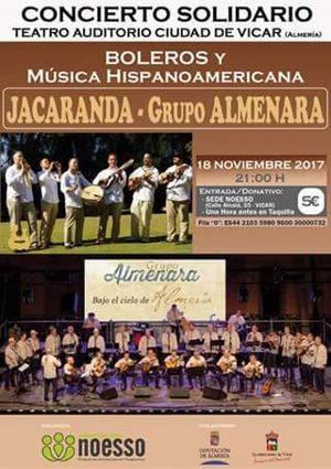 Concierto solidario de Noesso en el Teatro Auditorio Ciudad de Vícar con Almenara y Jacaranda