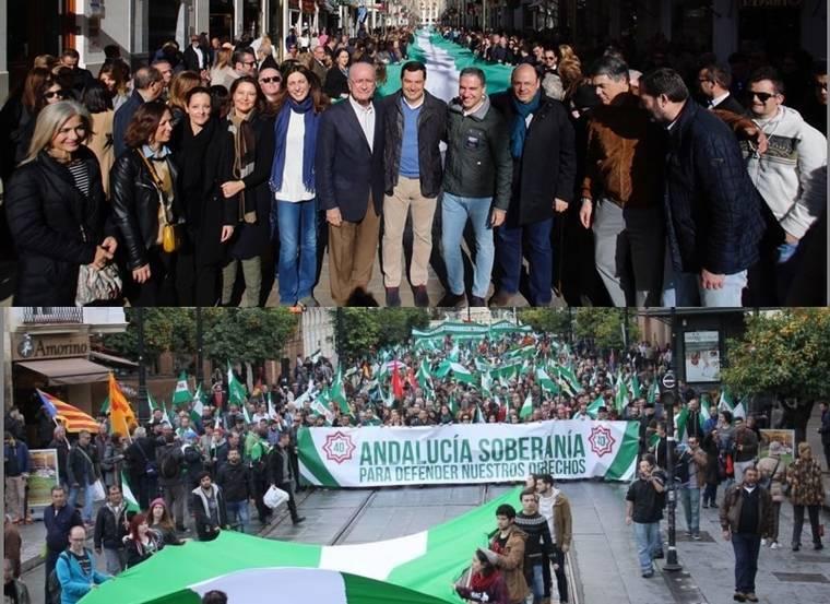 Partido Popular de Almería ayuda a desplegar una bandera andaluza de más de 320 metros en Málaga