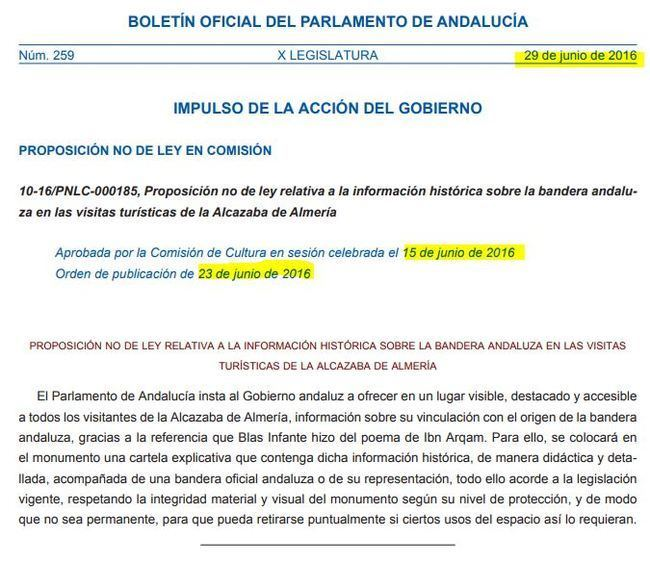 El Gobierno andaluz tarda año y medio en cumplir la PNL para poner un cartel sobre la bandera en la Alcazaba