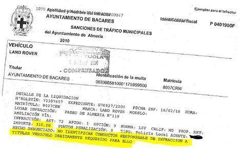 El Ayuntamiento de Bacares paga casi 900 euros en multas del alcalde por aparcar de forma indebida en la capital