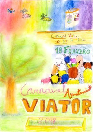 Dos niñas de10 años son autoras del carte de Carnaval de Viator 2018