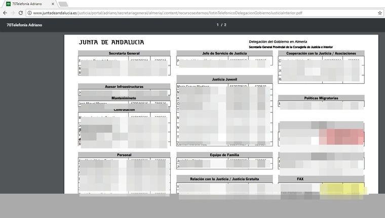 Agujero de seguridad devela los nombres y teléfonos de funcionarios de Justicia e Interior de la Junta en Almería