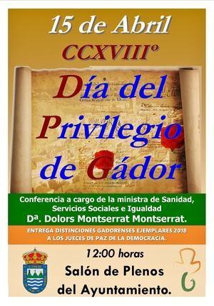 La ministra Dolors Montserrat asiste a los actos del Día del Privilegio de Gádor
