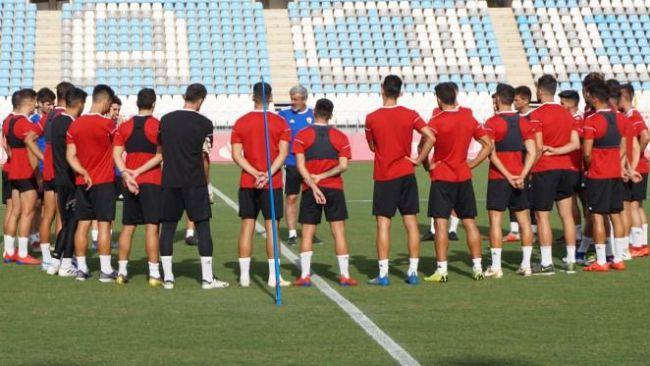 Más de dos horas de entrenamiento pensando en el partido contra el Logroñés