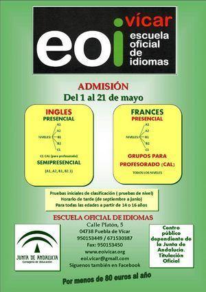 Sigue abierto el plazo de admisión en la Escuela Oficial de Idiomas de Vícar