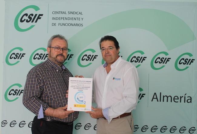 CSIF Almería, primer sindicato de Andalucía y segundo en España en registrar su Huella de Carbono