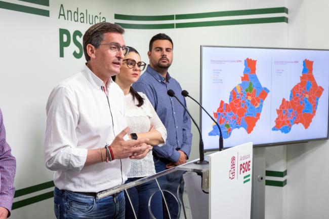 El PSOE destaca que logra su mejor resultado en Almería desde 2008 pero no supera en votos al PP