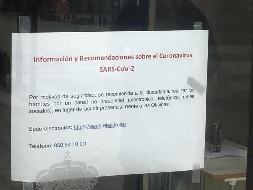 Nuevas medidas del Ayuntamiento de El Ejido por el COVID-19