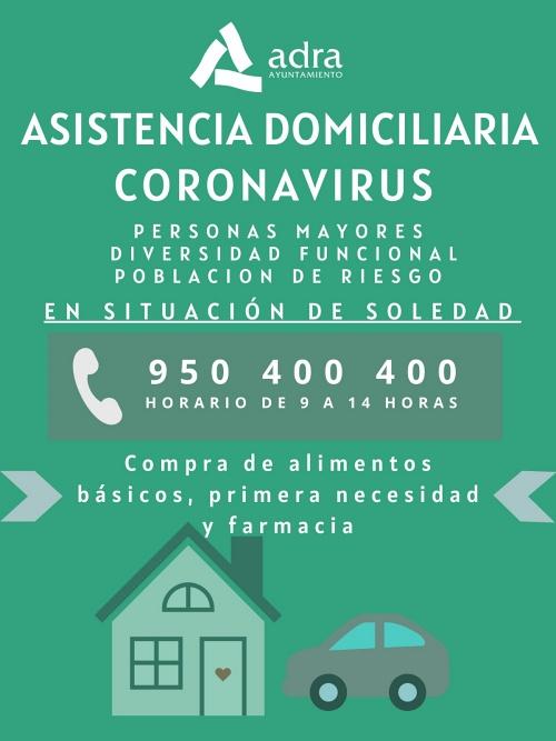 Servicio del Ayuntamiento de Adra a personas solas por el #COVID19