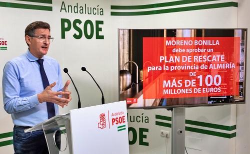 El PSOE reclama a la Junta 100 millones para compensar la caída económica de Almería