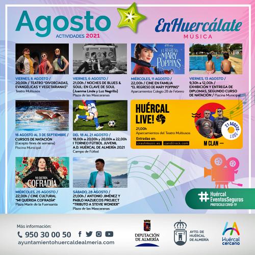 M-Clan, soul, teatro, cine y deporte, propuestas de agosto en Huércal de Almería