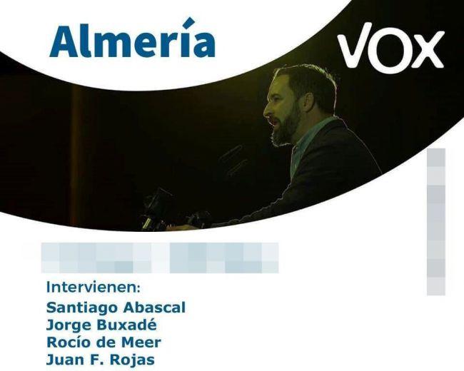 Vox monta un mitin con Abascal en Almería capital pero oculta a su candidato