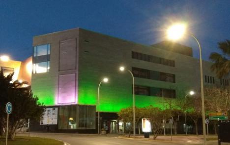 El Auditorio de El Ejido iluminado en verde por el #COVID19