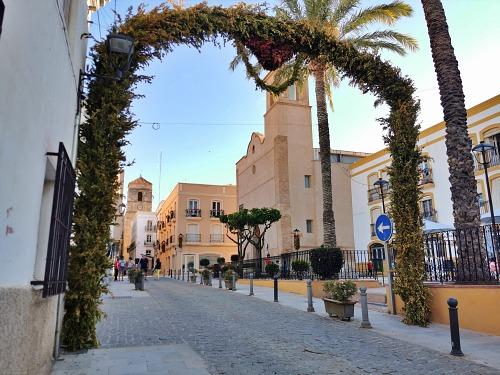 Decoración floral para dinamizar el centro histórico comercial de Vera