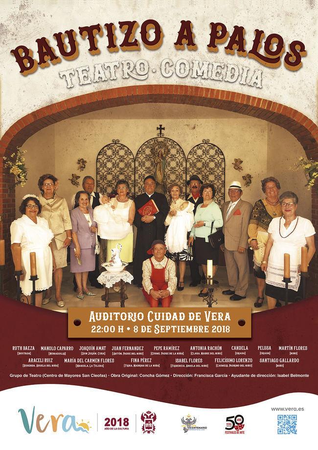Los mayores de San Cleofás representan 'El bautizo a palos' en Vera