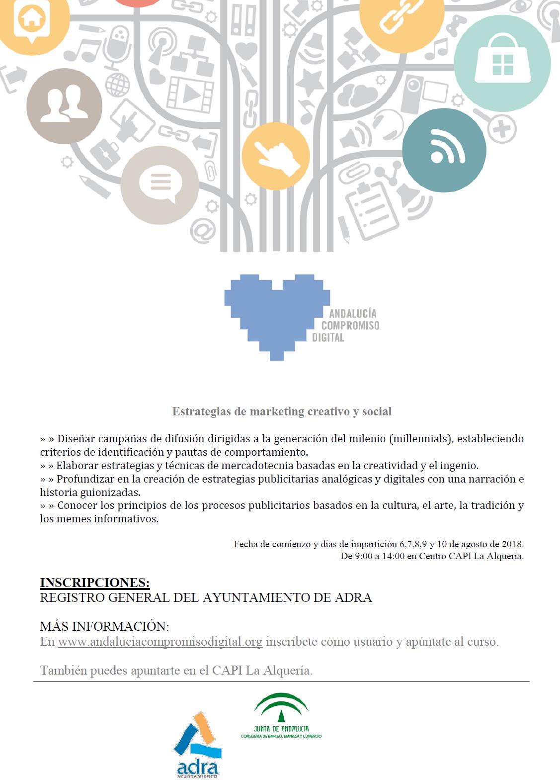 Curso de estrategias de marketing creativo y social en el CAPI de La Alquería