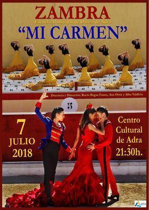 La Escuela Municipal Zambra estrena 'Mi Carmen' el 7 de julio en el Centro Cultural