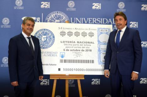 La imagen de la UAL en un décimo de Lotería dedicado a su 25 aniversario