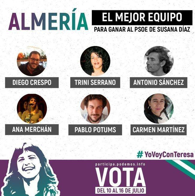 Los de Teresa Rodríguez solicitan un debate entre candidaturas de Podemos en Almería