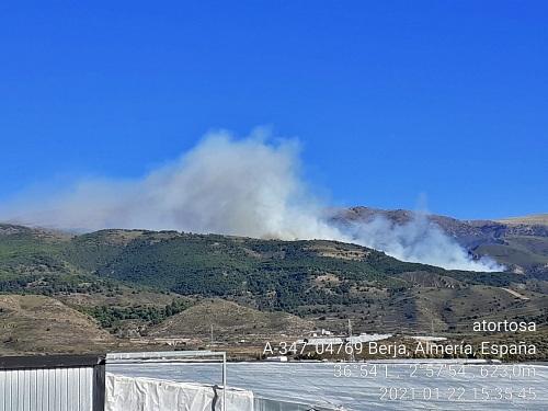 Grave incendio forestal en Berja
