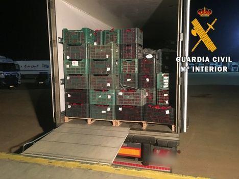 Cuatro detenidos por camuflar droga en camiones de hortalizas