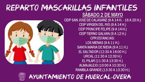 Huércal Overa repartirá 3.000 mascarillas a niños de 3 a 14 años