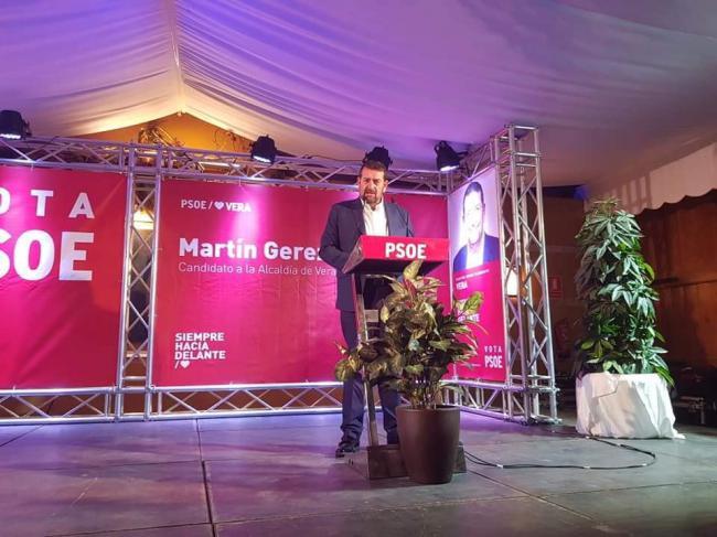 Lleno del veratense Martín Gerez como candidato a la Alcaldía por el PSOE