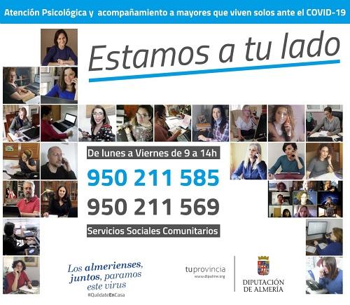 Servicios Sociales de Diputación atiende más de mil llamadas durante el confinamiento