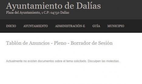 El PP de Dalías denuncia que el Portal de la Transparencia del Ayuntamiento no informa