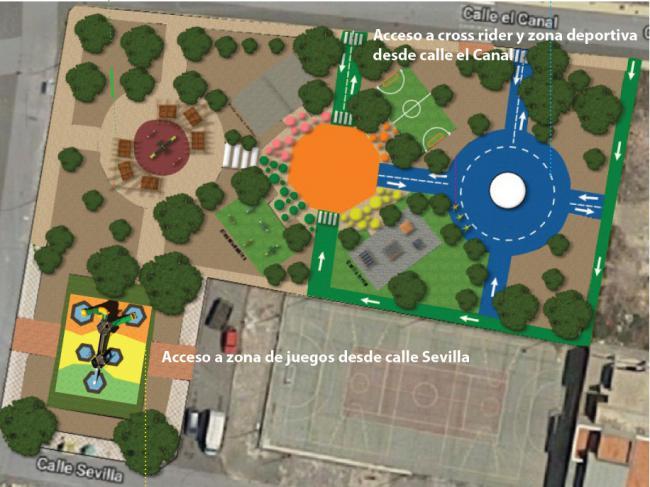 La transformación de parques en Adra comenzarán en El Canal de La Curva y Picasso