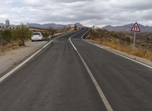 Diputación culmina las obras en la carretera entre Oria y San Roque de Albox