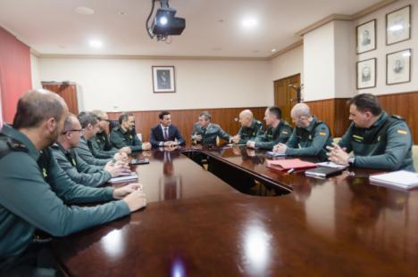 Primer encuentro institucional entre el presidente de Diputación y el coronel jefe de la Guardia Civil