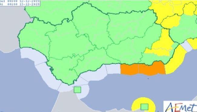 Previsto el jueves aviso naranja por fenómenos costeros en Almería