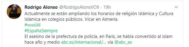 Vox relaciona la enseñanza del Islam en Vícar con el crimen de la Prefectura en París
