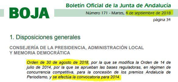 La Junta convoca en agosto de 2018 un premio para 2014