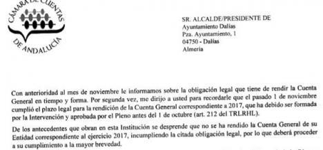 La Cámara de Cuentas advierte al Ayuntamiento de Dalías que es una infracción muy grave no presentar sus cuentas