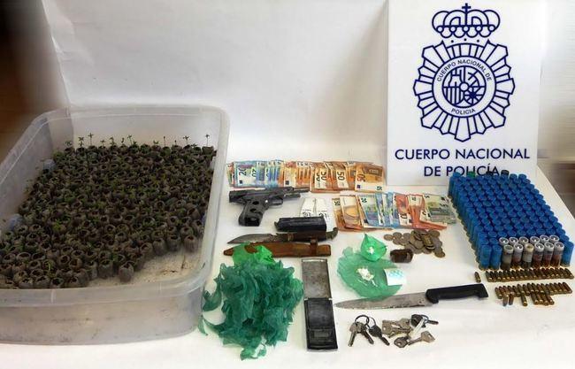Tres detenidos con dos plantaciones de marihuana y un arma
